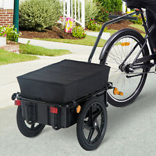 HOMCOM 70L Cargo Trailer Bike Trolley Cart Handle Carrier Utility w/ Rain Cover