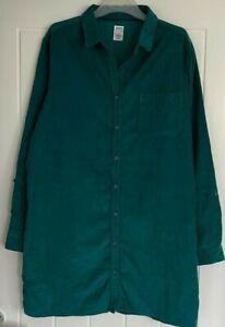 New EX SEASALT UK Size 12 Art Club Teal Green Needlecord Corduroy Long Shirt Top