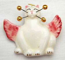 WhimsiClay kitty Angelica pin, 24K gold whiskers