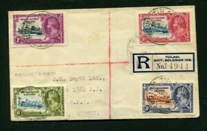 1935 Silver Jubilee British Solomon Islands set on a registered cover to Sydney