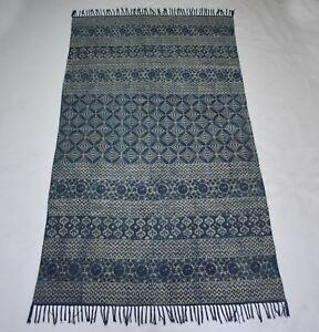 Hand Loom Cotton Indigo Blue Rug Indian Traditional Area Rug DN-998 5x8 Feet