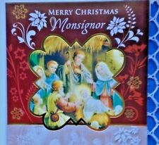 """""""Merry Christmas MONSIGNOR"""" GREETING CARD, Nativity Scene,  NEW, with envelope"""
