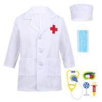 Kids Doctor Dressing Up Uniform Outfit Lab Coat Girls Boys Fancy Dress Costume