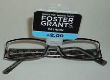 Foster Grant Fashion Reading Glasses Leelah GUN +2.00 NWT #0616