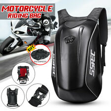Motorcycle Backpack Motorsports Riding Back Pack Hard Shell Travel Bag Black