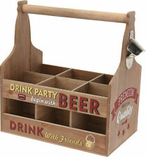 Flaschenträger mit Flaschenöffner - Holz Flaschenhalter Bierträger Flaschenkorb