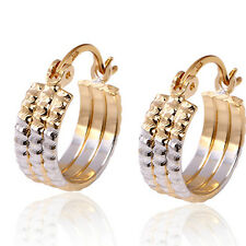 Unisex 18k Two-tone Yellow White Gold Filled GF Hammered 3-Lines Hoop Earrings