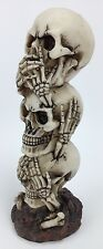 "Speak Hear See No Evil Skull Skeleton 7.5"" Statue Figure Gothic Halloween Decor"