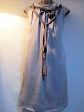 CHLOE Women's UK 12 Taupe Knee Length Sleeveless Silk Shift Dress M
