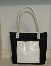 LIZ CLAIBORNE SHOPPER BAG  100% POLYVINYL BLACK & WHITE GUC