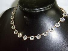 BEAUTIFUL 1920/30s GLASS NECKLACE 25 MED SIZE CLAW SET FACETED CRYSTALS ART DECO