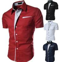Men's  formal short sleeve luxury slim fit casual summer floral stylish tops