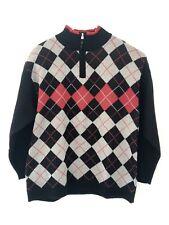 bd58acbb28 South Pole Mens Sz XL Argyle Sweater Black Red Gray Half Zipper