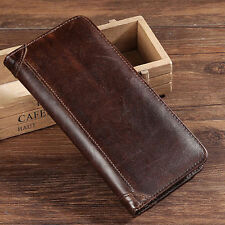 Men Leather Long Wallet Handbag Purse Credit Card Bag Brown
