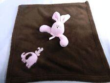 Blankets & Beyond Pink Bunny Rabbit Brown Lovey Security Blanket