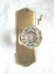 Emtek Single Door Crystal Door Knob Polished Brass Backplate New