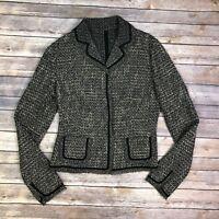 Elie Tahari Women's Brown Black Beige Wool Silk Tweed Woven Blazer Jacket 4 XS S
