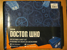 Brand New Doctor Who Tardis Blue Gears Too Queen Size Bed Sheet Set