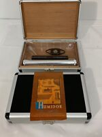 Cigar Travel Humidor w Cutter Stainless Steel Tube Ashtray NEW