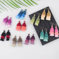 Fashion Boho 3 Layers Fringe Long Tassel Earrings Dangle Ear Hook Charm Jewelry