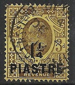 British Levant 1910 SG 22 Ovpt ERROR  Raised E  CANC  VF