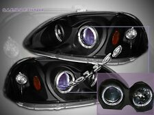 Fit For 96-98 Honda Civic Projector Headlights Black Blue 2Halo