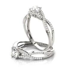Diamond Split Band Engagement Forever Brilliant Moissanite Petite Intertwined