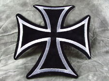 """Biker Iron Cross Black Silver Embroidered Sew On Patch 6"""" W  X 6"""" H"""