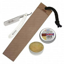 SHAVING RAZOR KNIFE LEATHER PADDLE SHARPENING STROP SOFTENING PASTE TRAVEL POUCH