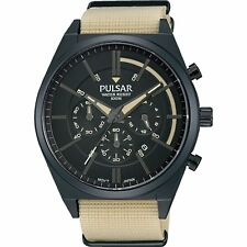 Pulsar By Seiko PT3707X1 Men's Cream Nylon Strap Chronograph Analog Watch 100M
