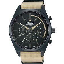Pulsar By Seiko PT3707X1 Men's Cream Nylon Strap Chronograph Analog Watch 100M