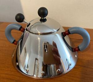 Alessi Italy Michael Graves Sugar Bowl w/ Spoon Blue Handles