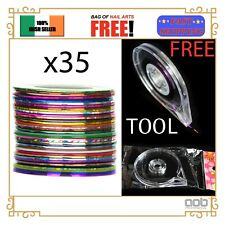 15/35Pcs Mixed Colors Nail Striping Tape Line Rolls Nail Art FREE DISPENSER! EU