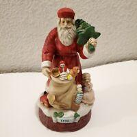 "Vintage 1992 Porcelain Wind Up Santa Claus- Musical, Plays Jingle Bells  (~ 8"")"