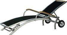 Sdraio con ruote lettino solare DIPLOMAT regolabile alu teak Mobili da Giardino