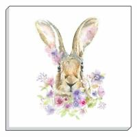 """EVANS LICHFIELD COUNTRY FLORAL HARE BROWN CANVAS WALL ART PICTURE 40CM - 16"""""""