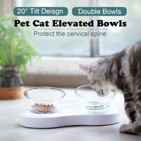 Double Bowl Pet Feeder Raised Cat Dog Food Water Bowls Stand Holder Anti-skid