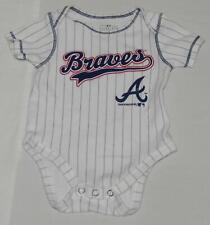 TEAM ATHLETICS Atlanta Braves Baby Boys White Striped Bodysuit Size 0-3 Months