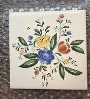 Vintage Floral Ceramic Tile Hot Plate Trivet Mid Century Modern 6 X 6