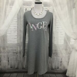 Victoria Secret VS Medium Angel Gray Sleep Shirt Nightshirt Pajamas Sequins B5
