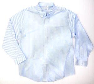 NEW BROOKS BROTHERS BABY BLUE STRIPED  SUPIMA COTTON DRESS SHIRT SIZE 2XL