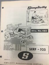 simplicity serf 525 #485 tractor/manual & illustrated parts list