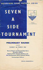 OXFORDSHIRE SEVENS PRELIMS RUGBY PROG 4 Mar 1962 Exeter College Clifton Harrow