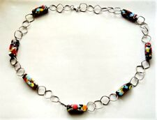 "Murano Glass Beads Necklace 23.5"" Unique Vintage Sterling Silver &"