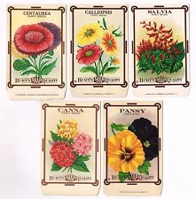 5 DIFF. VINTAGE SEED PACKET LOT 1910 FLOWERS GARDEN LITHOGRAPH GENERAL STORE