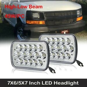 "For Chevy Express Cargo Van 1500 2500 3500 Truck 7''x6"" 5x7 LED Headlight Pair"
