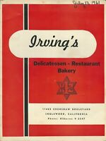 Vintage IRVING'S DELICATESSEN Restaurant Bakery Menu, Inglewood California