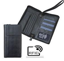 Planificador de viaje RFID Seguro Negro Con Cremallera Cartera De Prime Hide Porta pasaporte