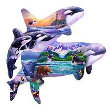 SUNSOUT SHAPED JIGSAW PUZZLE ORCA HABITAT STEVE SUNDRAM 1000 PCS #96186