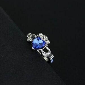 Harry Potter Hogwarts School Slytherin Blue Crystal Heart Shape Ring